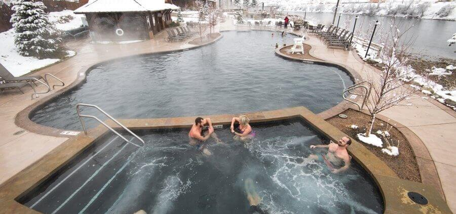 Iron mountain hot springs pools in snow