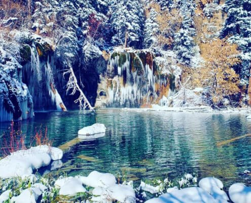 hanging lake winter landscape