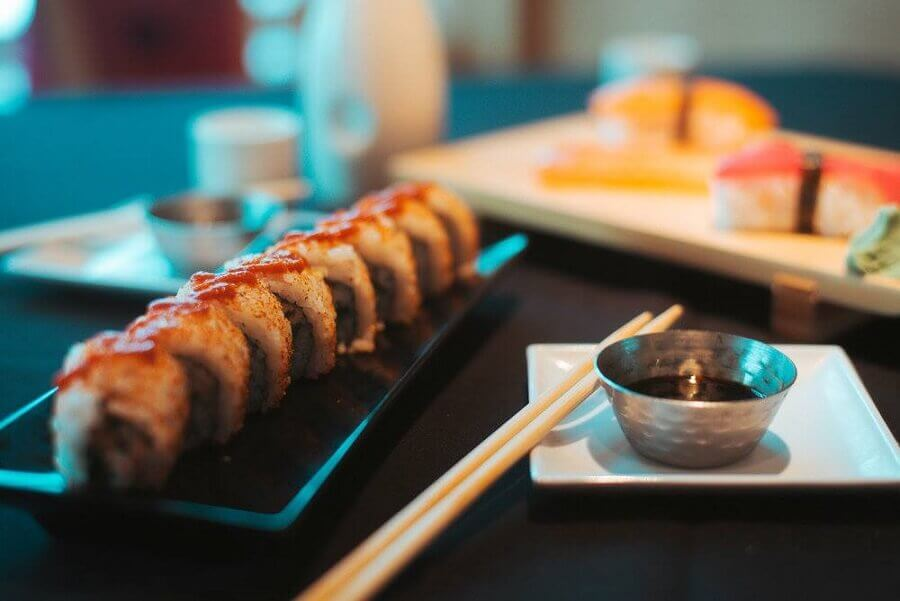 sushi roll and sticks