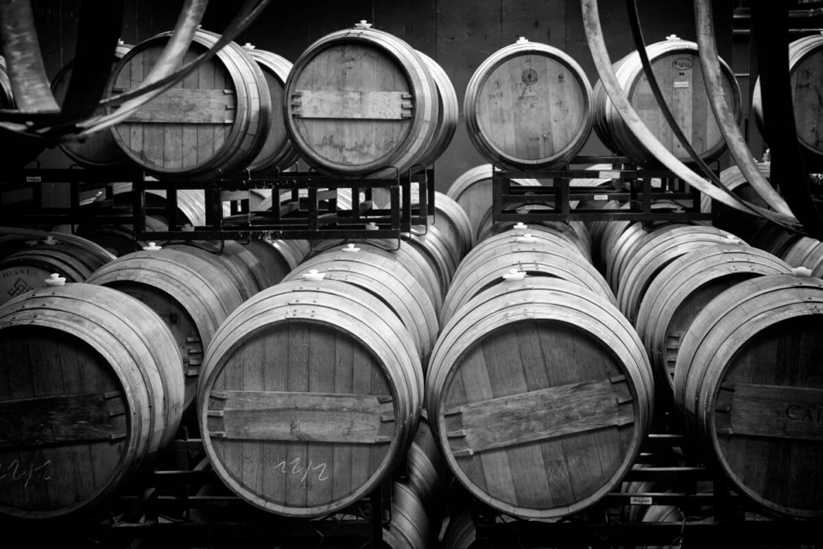 staked oak barrels