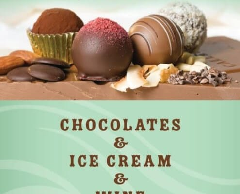 banner for chocolate mouse reads: chocolate & Ice Cream & Wine