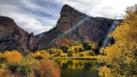 glenwood canyon with fall foliage