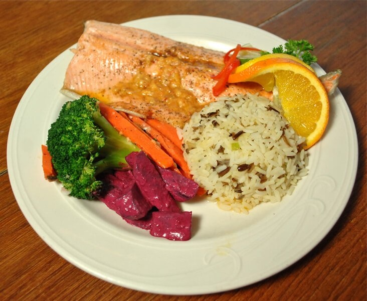 fish with rice veggies