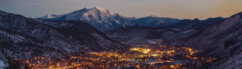 scenic town in winter