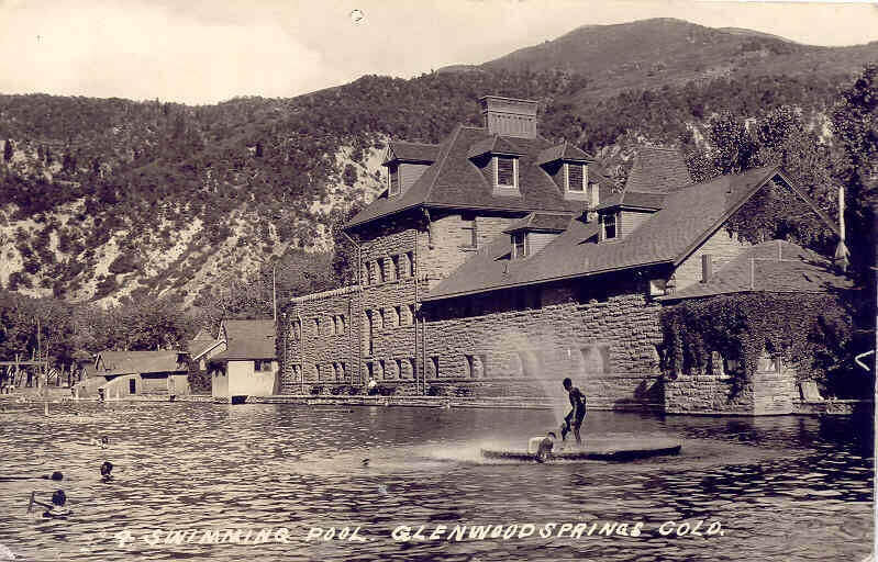vintage black and white photo of bathhouse and hot springs