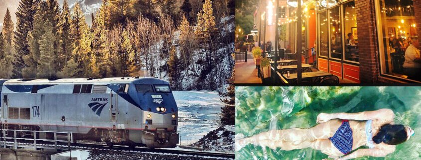 train, restaurant and woman swimming collage