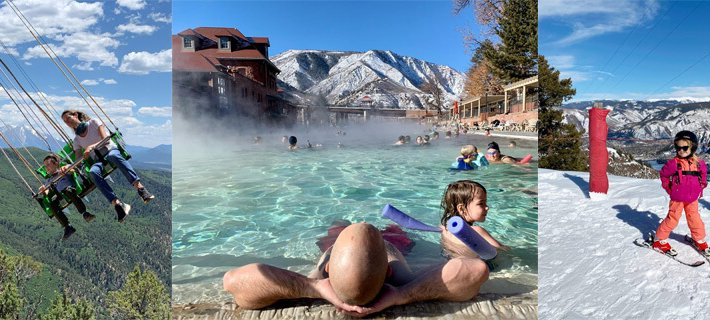 swings, hot springs, skier