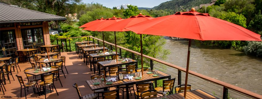 outdoor dining next to river