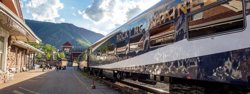 Rocky Mountaineer Train at station